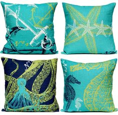 Coastal and Nautical Luxury Designer Pillows. Featured on CC: http://www.completely-coastal.com/2015/02/coastal-nautical-luxury-designer-pillows.html
