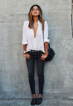 Latest trend about black skinny jeans skinny jeans outfit ideas sincerely jules ckoonvm Looks Com Jeans Skinny, Jeans Skinny Branco, White Skinny Jeans, Ripped Jeans, Skinny Pants, Black Skinnies, Black Jeans Outfit, Black Denim, Black Oxfords