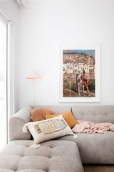 Media room sofa and artwork—House By Three Birds Renovations x Sophie Bell, featuring Dulux White on White. Deco Boheme Chic, Br House, Three Birds Renovations, Freedom Furniture, House Ideas, Living Spaces, Living Room, Home Accessories, Room Decor