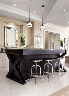 Large kitchen islands with seating for six option 7 for Different shaped kitchen island designs with seating