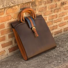 Handcrafted Custom Made Luxury Briefcase in Cognac, Dark Brown and Navy Blue Painted Calf Leather From Robert August. Create your own custom designed shoes. Custom Made Shoes, Custom Design Shoes, Leather Briefcase, Leather Backpack, Satchel Backpack, Leather Bags Handmade, Leather Craft, Best Bags, Leather Working