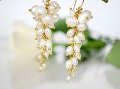 Freshwater White Pearls beautiful wedding earrings by ChaninBijoux, $75.00