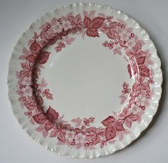 Red and White Toile Plates | Red Pink Vintage English Transferware Dinner Plate Bucolic Mill Stream ...