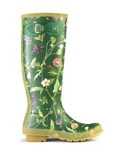 Kalosze HUNTER RHS piękne w kwiaty! 39 zielone - Zdjęcie na imgED