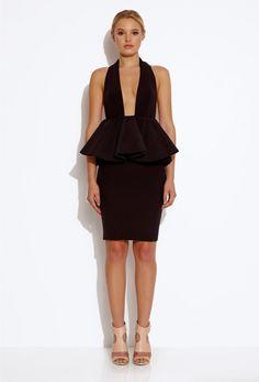 Drama Peplum Knee Length Dress - Black | AQ/AQ