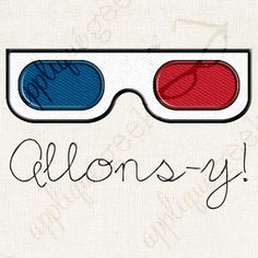 Allons-y! 3D Glasses Doctor Who Inspired Applique and Embroidery Design