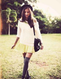 Shop this look on Kaleidoscope (dress, sweater, necklace, socks, hat)  http://kalei.do/WVgWJbiVf3SRnw9j