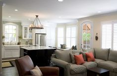 Great room with combined kitchen and living room.