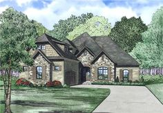 View this 2 story, 3 bedroom, inviting ranch home plan (#153-1981) with French influences at The Plan Collection.