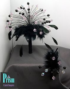 Prom Pom Feathered Crystal Bouquet Set Black Pink by PrismBouquets, $40.00
