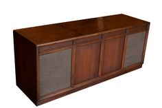Mid-Century Modern Repurposed Record Console // Bluetooth iPhone Speaker Vintage Stereo