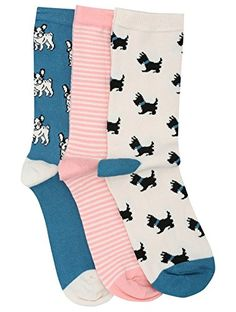 M&Co Ladies Dog Print Cotton Rich Ankle Socks Pack Of Three Multicolour One Size