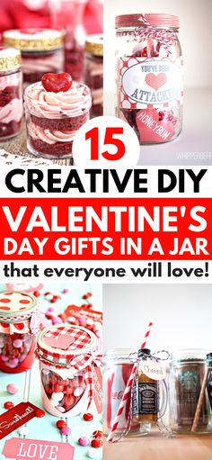 Valentines Gifts In A Jar that are fun and easy to make for your friends, family, and boyfriend. These simple gift ideas include hot chocolate and coo Diy Valentine's Gifts For Friends, Diy Gifts In A Jar, Valentine Gift Baskets, Valentines Day Gifts For Friends, Valentine's Day Gift Baskets, Valentines Gifts For Boyfriend, Mason Jar Gifts, Homemade Gifts, Simple Valentines Gifts For Him
