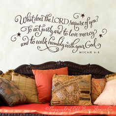 What does the Lord require of you...scripture quote wall graphic lettering calligraphy vinyl decal sticker old barn rescue. $38.00, via Etsy.