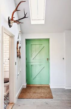 A colorful farm-style back door.