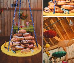 Hanging umbrellas and donuts, vintage circus-themed wedding, at paper moon weddings.