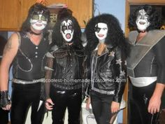 Homemade KISS DIY Halloween Costume: This is our KISS Costume. For the Demon we found the leather pants, boots, cape, and studded biker jacket at second hand stores...