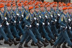 Cadets of the Russian Emergency Ministry Civil Defense Academy marching through Red Square in the dress rehearsal for the 2010 Victory Day Parade.