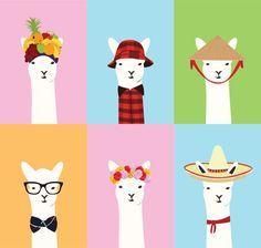 alpaca around the world Alpacas, Art And Illustration, Llama Arts, Gato Gif, Llama Alpaca, Art Plastique, Cute Wallpapers, Character Design, Images