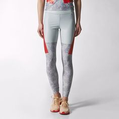 6010b1bd6d The designer combines a muted floral print with bold blocks of color to  create these adidas by Stella McCartney Run Techfit Tights.
