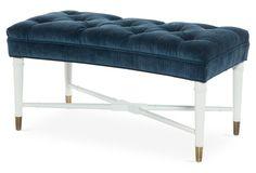 """Monroe 36"""" Bench, Blue Velvet"""