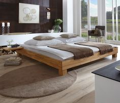 mediterranes massivholzbett aus naturfarbener buche mit edlen, Hause deko