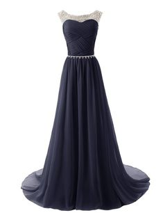 A-line Prom Dresses 2016 Scoop Sleeveless Backless Sweep Train Chiffon with Crystal Prom Dress Long Prom Dresses Pleats Party Dresses