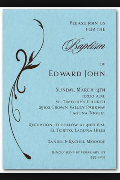 Baptism invite idea