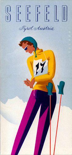 Arthur Zelger Cover Design 'Let's Ski Tyrol' Brochure 1954/55