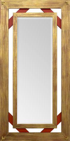 a12af73f91698 Espelho Bisotado com Moldura Dourada e Vermelho Rústico