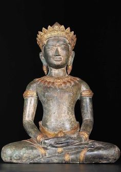 "Khmer Meditating Buddha Statue 19.5"""