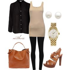 """""""OOTD: Black and Tan Shopping Outfit"""" by natihasi on Polyvore"""