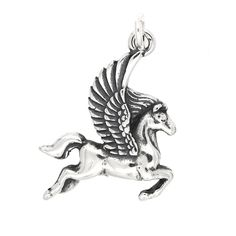 Sterling Silver Oxidized One Sided Greek Mythology Pegasus Charm. Oxidized Sterling Silver. Height 19 Millimeter x Width 18 Millimeter (0.75 inch x 0.71 inch). Made in USA.