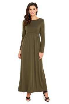 Feiterawn Women Long Sleeve High Waist Maxi Dress Winter Fashion Casual Ruched Jersey Long Dresses with Pockets Party Gown Summer Swing Dresses, Dresses For Work, Ruched Dress, Couture Dresses, Skirt Fashion, Casual Dresses, Long Dresses, Dress Up, Cold Shoulder Dress