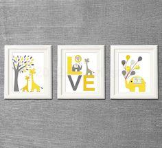 Yellow and grey Nursery Art Print Set, Kids Room Decor, Children Wall Art - Tree, love, baby elephant, giraffe nursery, baloon, baby boy