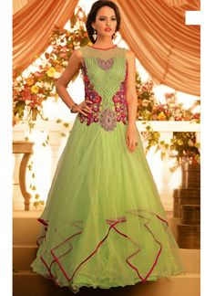 Green Net Gown With Stone Work