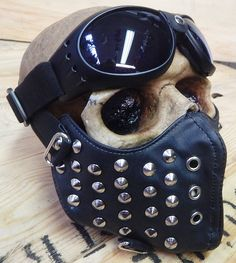 STEAMPUNK MASK - 2 pc. Black Faux Leather Metal Studded Dust Riding Mask with Aviator Goggles - Burning Man Mask by jadedminx on Etsy