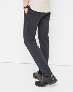 Tailored fit cotton chinos - Navy | Trousers | Ted Baker UK