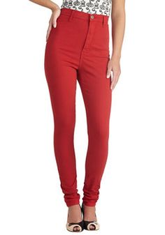 Gotta Jet Set Jeans in Red, #ModCloth