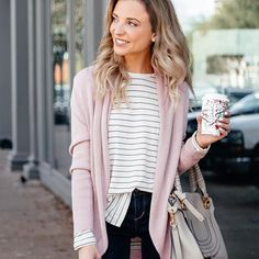 Basic striped tee + Cardi on sale!