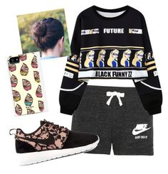 """""""Lazy """" by pagediazx ❤ liked on Polyvore featuring NIKE, Chicnova Fashion and Samsung"""