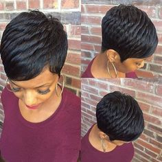 How to style the Pixie cut? Despite what we think of short cuts , it is possible to play with his hair and to style his Pixie cut as he pleases. Black Haircut Styles, Short Black Haircuts, Black Women Short Hairstyles, Cute Hairstyles For Short Hair, Wig Hairstyles, Curly Hair Styles, Natural Hair Styles, Black Pixie Haircut, 27 Piece Hairstyles