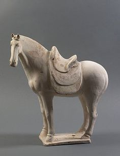 Chinese Terracotta Standing Horse Statue  	Period  Tang Dynasty 618-907 AD		Category  Chinese