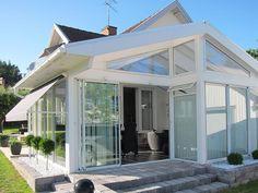 Funkissadeltak - extra takhöjd i uterummet Winter Garden, Sunroom, Gazebo, Cottage, Patio, Living Room, Outdoor Decor, Timber Frames, Houses