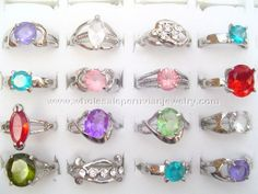 Colorful Zircon Rings. Click the link to purchase our unique handmade Peruvian jewelry at awesome wholesale prices (includes shipping & insurance!)  Make money with your own online or offline business selling Peruvian Jewelry or save big on beautiful gifts for yourself or that special someone! Click here:  http://www.wholesaleperuvianjewelry.com/