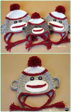 Crochet Monkey Earflap Hat Free Pattern Instructions-DIY #Crochet Ear Flap Hat Free Patterns