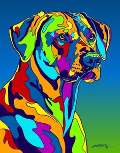 Multi-Color Rhodesian Ridgeback Dog Matted Prints & Canvas Giclées. Hand painted and printed in USA by the artist Michael Vistia. Dog Breed: The Rhodesian ridgeback is a dog breed developed in Rhodesi