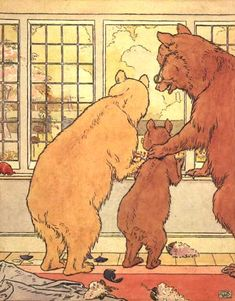 The Three Bears Goldilocks runs away Canvas Art - Leonard Leslie Brooke x Multicolor Fairy Land, Fairy Tales, Lewis Hine, 3 Bears, Teddy Bears, Goldilocks And The Three Bears, Clip Art Pictures, Bear Illustration, Nursery Rhymes