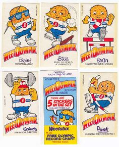 1984 WeetOlympix Free cards in packets of Weetabix cereal 1980s Childhood, Childhood Memories, 80s Stuff, Retro 2, Retro Sweets, Free Cards, Tv Ads, 90s Nostalgia, 80s Kids