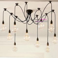 Edison Bare Ball Chandelier by Pottery Barn. We could do something like this on our own with colored bulb strings. Chandelier Bulle, Edison Bulb Chandelier, Bubble Chandelier, Edison Lighting, Diy Chandelier, Industrial Lighting, Home Lighting, Pendant Lamp, Pendant Lighting